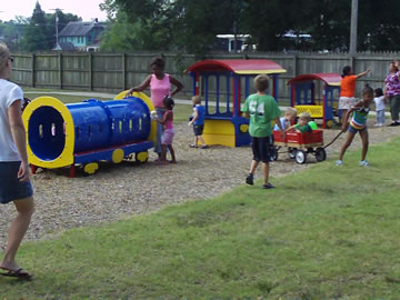 Children enjoying the playground at the New Parent initiative kick-off